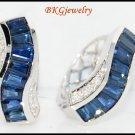 Diamond Genuine Blue Sapphire Earrings 18K White Gold [E0010]