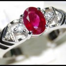 Solitaire Ring Unique 18K White Gold Ruby and Diamond [RS0102]