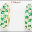18K Yellow Gold Gemstone Diamond Jewelry Emerald Earrings [E0072]