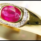 Ruby Wedding Diamond 18K Yellow Gold Solitaire Ring [RS0164]