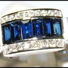 Diamond Unique 18K White Gold Gemstone Blue Sapphire Ring [RQ0020]