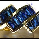 Gemstone 18K Yellow Gold Unique For Men Blue Sapphire Ring [RQ0004]