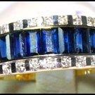 18K Yellow Gold Diamond Blue Sapphire For Men Wedding Ring [RQ0026]