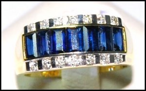 18K Yellow Gold Diamond Blue Sapphire For Men Wedding Ring [RQ0026]