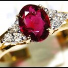 18K Yellow Gold Solitaire Genuine Ruby Diamond Ring [RS0013]