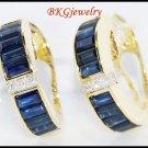 18K Yellow Gold Natural Diamond Blue Sapphire Earrings [E0021]