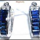 18K White Gold Genuine Diamond Blue Sapphire Earrings [E0084]