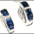 18K White Gold Natural Diamond Blue Sapphire Earrings [E0088]