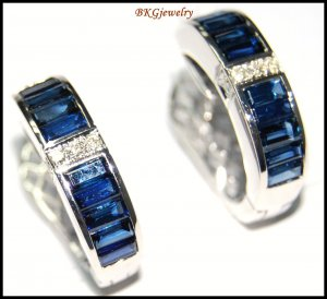 18K White Gold Natural Diamond Blue Sapphire Earrings [E0088]