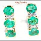 Diamond Jewelry Gemstone 18K Yellow Gold Emerald Earrings [E0091]