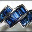 For Men Blue Sapphire Gemstone Unique Ring 18K White Gold [RQ0004]