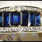 Diamond Eternity Blue Sapphire For Men 18K Yellow Gold Ring [RQ0006]