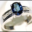 Wedding Diamond Solitaire 18K White Gold Blue Sapphire Ring [RS0015]