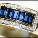 For Men Blue Sapphire Diamond Natural 18K Yellow Gold Ring [RQ0048]