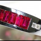 18K White Gold For Men Ruby and Diamond Band Ring [RQ0025]