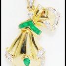 Gemstone Emerald Brooch/Pendant Diamond 18K Yellow Gold [I_014]