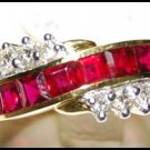 18K Yellow Gold Diamond Eternity Unique Ruby Ring [RQ0045]