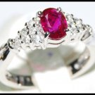 Solitaire Ruby and Diamond Ring Unique 18K White Gold [RS0011]