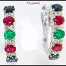 Genuine Diamond Multi Gemstone Earrings 18K White Gold [E0075]