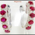 18K White Gold Unique Ruby Gemstone Diamond Earrings [E0076]