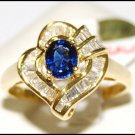 Wedding Gemstone Diamond 18K Yellow Gold Blue Sapphire Ring [RB0017]