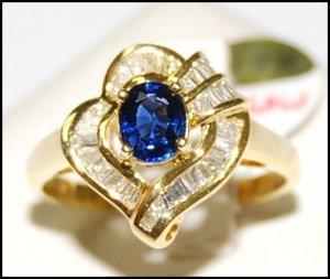 Wedding Gemstone Diamond 18K Yellow Gold Blue Sapphire Ring [RB0017]