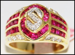 US Dollar Design Ruby and Diamond Unique 18K Yellow Gold Ring [R0006]
