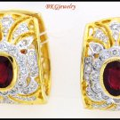 Gemstone 18K Yellow Gold Diamond Unique Ruby Earrings [E0054]