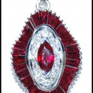 Ruby Pendant Natural Diamond Gemstone 18K White Gold [P0142]