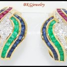 Eternity Diamond 18K Yellow Gold Multi Gemstone Earrings [E0065]