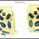 Genuine Blue Sapphire 18K Yellow Gold Diamond Earrings [E0056]