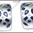 18K White Gold Blue Sapphire Jewelry Diamond Earrings [E0090]