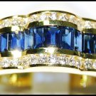 Diamond Eternity Cocktail 18K Yellow Gold Blue Sapphire Ring [RQ0051]