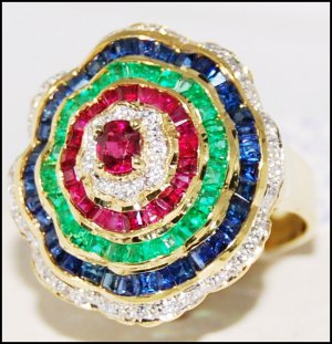 18K Yellow Gold Natural Diamond Multi Gemstone Cocktail Ring [R0059]