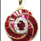 18K Yellow Gold Genuine Diamond Gemstone Ruby Pendant [P0143]