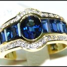 Genuine Diamond For Men Blue Sapphire 18K Yellow Gold Ring [RQ0023]