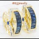 18K Yellow Gold Blue Sapphire Eternity Diamond Earrings [E0017]