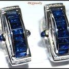 Unique Diamond Blue Sapphire Earrings 18K White Gold [E0083]