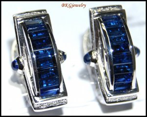Unique Diamond Blue Sapphire Earrings 18K White Gold [E0083]