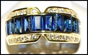 Diamond For Men Blue Sapphire Eternity Ring 18K Yellow Gold [RQ0015]