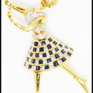 Blue Sapphire Women Brooch/Pin 18K Yellow Gold Unique Diamond [I_013]