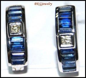 18K White Gold Diamond Blue Sapphire Eternity Earrings [E0086]