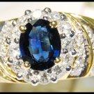 18K Yellow Gold Natural Diamond Gemstone Blue Sapphire Ring [RB0027]