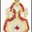 Eternity Diamond 18K Yellow Gold Gemstone Ruby Pendant [P0085]