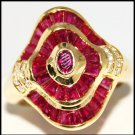 18K Yellow Gold Diamond and Genuine Ruby Cocktail Ring [R0064]