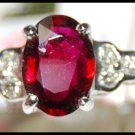 Oval Ruby Solitaire Ring and Diamond Unique 18K White Gold [RS0165]