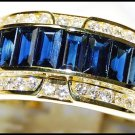 18K Yellow Gold Diamond For Men Blue Sapphire Eternity Ring [RQ0047]