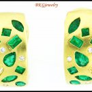 18K Yellow Gold Natural Emerald Gemstone Diamond Earrings [E0055]
