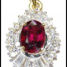 Ruby Jewelry Diamond Solitaire Pendant 18K Yellow Gold [P0140]