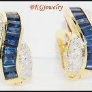 Genuine Diamond Blue Sapphire 18K Yellow Gold Earrings [E0012]